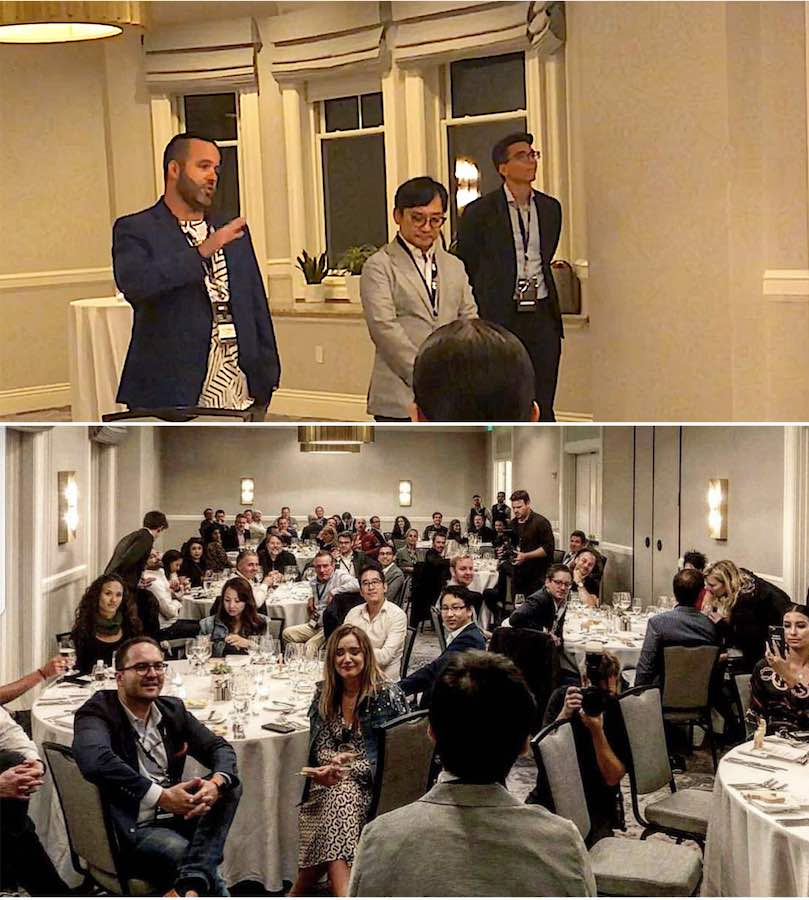 J.D. Salbego Hosting Crypto Finance Conference VIP Investor Dinner San Francisco 2018