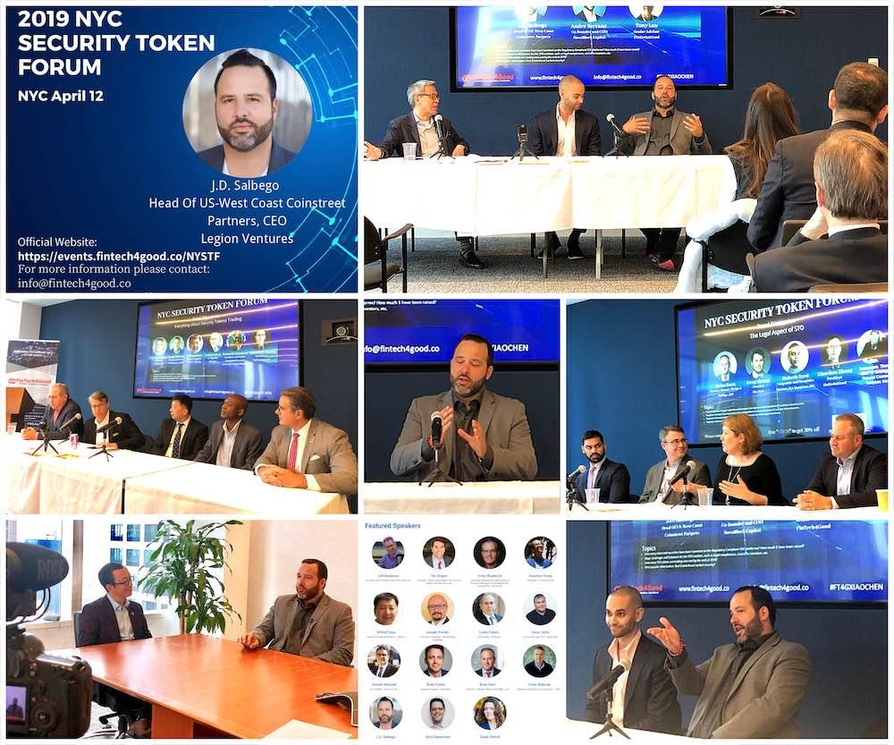 J.D. Salbego speaking at FinTech4Good's NYC Security Token Forum with Tim Draper, TZero Group, Securitize, Templum, Malta Stock Exchange, Microsoft Blockchain, OKCoin, etc.