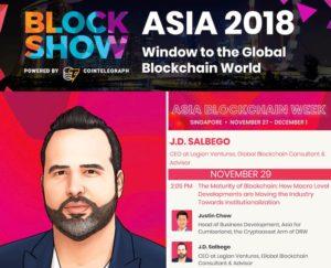 J.D. Salbego Speaking at Blockshow 2018 Singapore