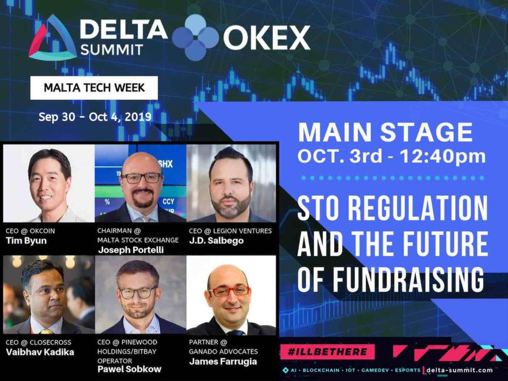 J.D. Salbego speaks main stage at Delta Summit 2019 during OKEx Malta Tech Week on STO regulation and future of fundraising with Joseph Portelli Chairman Malta Stock Exchange and Tim Byun CEO OKCoin