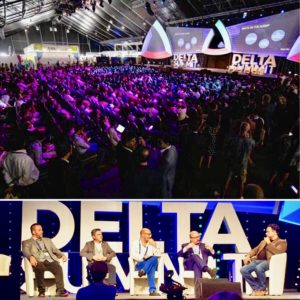 """J.D. Salbego speaks main stage at Delta Summit 2019 during OKEx Malta Tech Week on STO regulation and future of fundraising with Joseph Muscat, Prime Minister of Malta, Changpeng """"CZ"""" Zhao founder and CEO of Binance, Joseph Portelli Chairman of Malta Stock Exchange and Tim Byun CEO of OKCoin"""